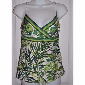 J.CREW Green Floral 100% Silk Tank Top Camisole 0
